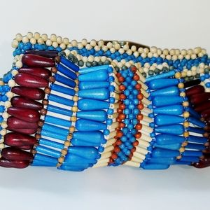 KATE LANDRY MTI-COLORED WOODEN BEADED CLUTCH